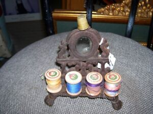 Antique cast metal Sewing  Stand for Thread Rolls  Thimble