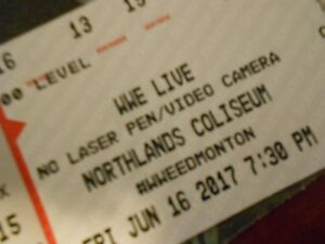 2 Tickets Hard Copy WWE LIVE Friday June 16 Northlands Lower