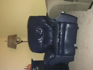 Blue leather sofa and recliner