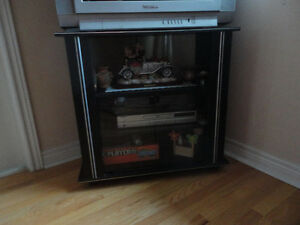 Wooden black/glass doors front TV stand media storage unit London Ontario image 3