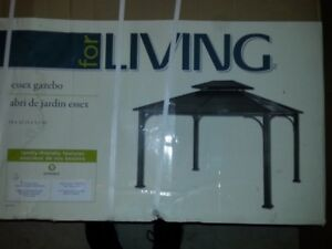 **NEW** FOR LIVING ESSEX GAZEBO 12 L X 10 W X 9.89 H Ft. (BLACK)