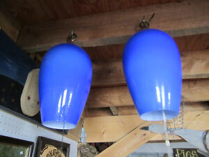 Vintage Blue Glass Lamp Shades