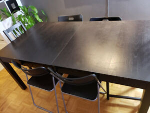 Ikea dining set table and chairs, Extendable, brown-black