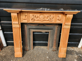 Pine Fire Place and metal insert