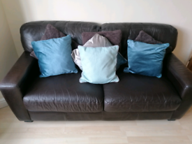 Dark brown, real leather 2 Seater sofa, 1 Seater Chair and pouf