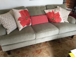 Three seater sofa and loveseat, 2 chairs and ottomans