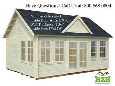 Bzb Log Cabin Kit Lakeview 17 X 126 Inside 209sqf 1-34 Wall Thickness