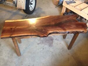 Live edge black walnut/oak coffee table in whitecourt
