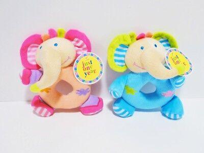 Hunde-/ Welpen-/ Babyspielzeug - süße Elefantenfigur Plüsch - 16cm - blau / pink ()
