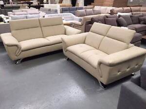 NEPTUNE 3 SEATER LEATHER SOFA - AVAILABLE IN TAN, GREY AND WHITE! Richmond Yarra Area Preview