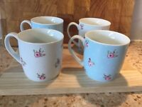 Set of 4 Floral Mugs in the Style of Kath Kidston