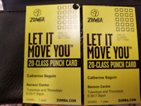 Class Card for Zumba with Catherine