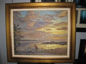 Canadian Artist Antoine Bittar Sunset at Lachine oil painting