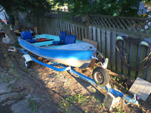 14ft Aluminum Fishing Boat,  10hp Mercury Motor & Trailer COMBO