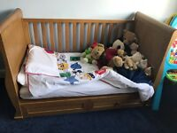 Solid oak Sleigh Cot Bed with Drawers