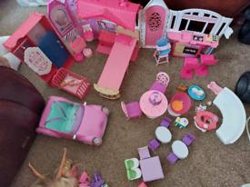 Barbie bundle house car dolls accessories