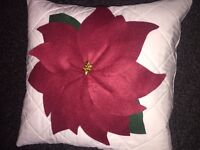 """HANDMADE QUILTED POINSETTIA CUSHION COVER 15.5"""" SQUARE. BRAND NEW"""