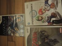 3 jeux Wii (zelda,mario kart,avatar)propose le prix