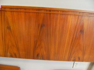 QUEEN TEAK HEAD BOARD ATT. NITE TABLES MCM