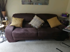Sofa, chair and pouffe