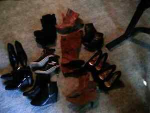 Boots...dress shoes...tops and purses.