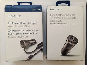 Insignia car charges /micro usb & usb port - with & without coil