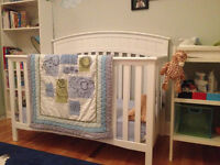 Crib + mattress + bedding set + changing table