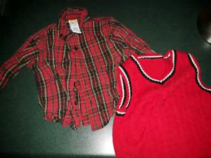 Xmas shirt & vest size 12-18 months