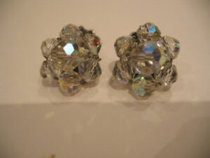 1950'S CRYSTAL CLIP EARRINGS