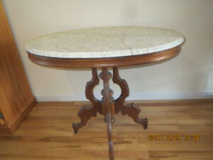 Marble Top Oak table