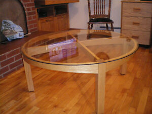 Custom Designed Round Oak Glass Top Coffee Table