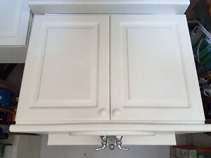 Vanity, cupboard, wall cupboard, kitchen sink with faucet
