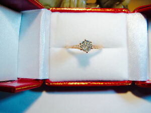 New Art Deco Style 0.52 VS2 Solitaire Diamond Engagement Ring