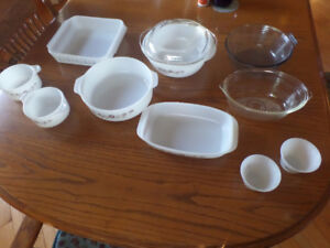13 pieces glass bakeware like Pyrex, Anchor Hocking, etc.