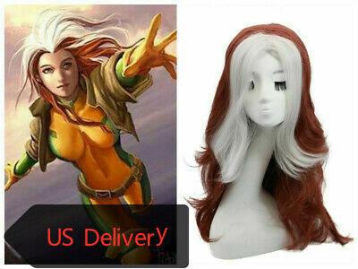 Costume Red Wig (Xmen Rogue Wig Brown-Red & Offwhite Long Curly Hair Cosplay Costume)