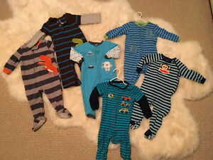 6 Boy Sleepers Size 12m (pekkle/carters/small Paul)