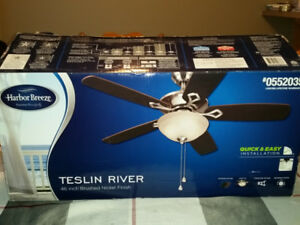 New, Open Box Ceiling Fan 46 inch brushed nickel finish