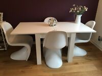 White Dining Room Table & 4 Chairs