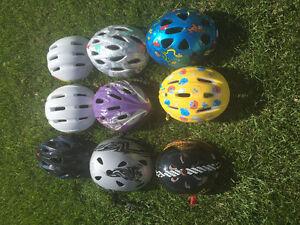 Variety of kids/youth bike helmets