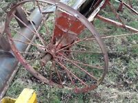 Antique large metal cart wheels pair