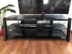 Black Glass, Big Screen TV Stand - Excellent Condition