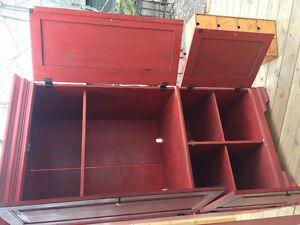 Rustic red antiqued cabinet