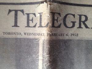 1952 Toronto Telegram newspaper 'The King is Dead!' Peterborough Peterborough Area image 2