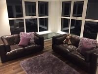 DFS REAL LEATHER SOFAS 3+2 CAN DELIVER FREE GRT COND