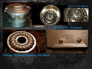 Vintage Steamed Pudding Tin Mold Made in W.-Germany West Island Greater Montréal image 1