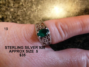 STERLING SILVER WITH GREEN STONE