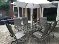Patio Dining Set - 8 chairs, Table and Umbrella