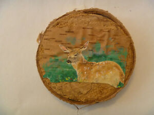 WHITETAIL FAWN Birch Bark Painting