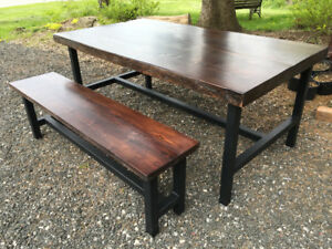 Reclaimed Barn Beam Table and Bench