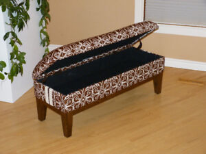 Gorgeous Refinished/Reupholstered Large Solid Oak Ottoman